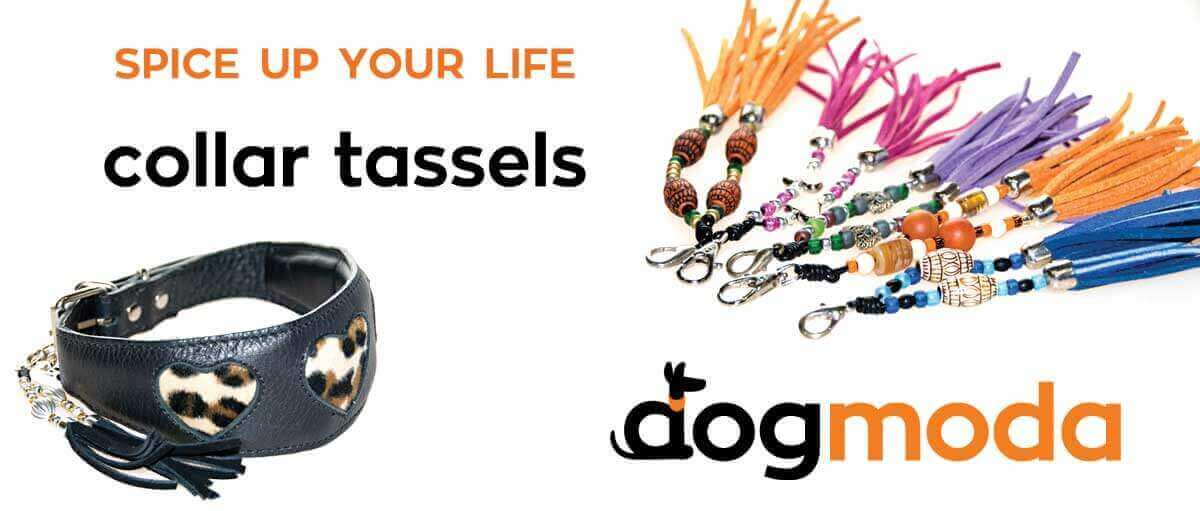 Leather collar tassels designed & handmade by Dog Moda in UK for Greyhounds, Whippets & other hounds