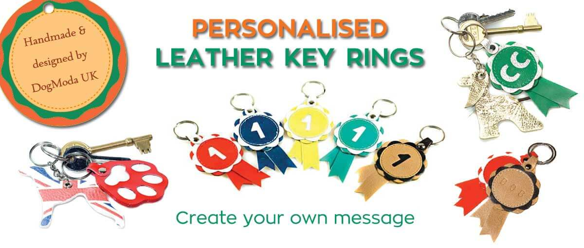 Personalised leather key rings designed & handmade in UK for Greyhounds, Whippets & other hounds