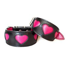 Pink fuchsia hearts sighthound collar in XS and XXS