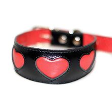 Red hearts hound collar. Soft, padded and lined with real leather