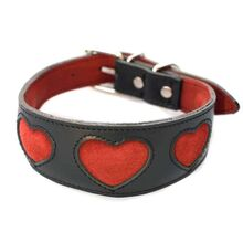 Soft padded black leather sighthound collar with red suede hearts - limited edition