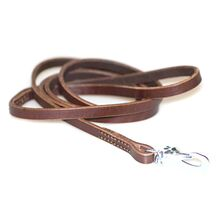 Brown leather dog leash 1.5m