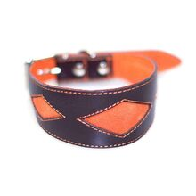 Orange diamond shapes on brown leather collar