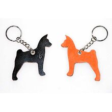 Basenji key ring chain fob / bag charm. Red and brown sides of leather keyring