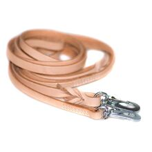 Dog Moda beige leather leash - narrow stitched and wide plaited leather dog leashes