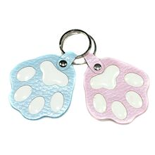 Blue and pink dog paw key rings