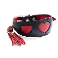 Soft padded black leather hound collar with red hearts and red collar tassel