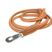 Tan rolled leather dog lead