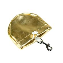 Gold leather treat bag comes with handy clip and drawstring closure