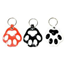 Red, black and white dog paw key rings