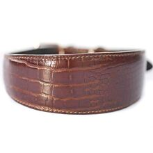 Amazonian alligator hound leather collar - Dark brown crocodile collar