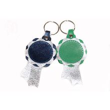 Blue and green personalised leather key rings