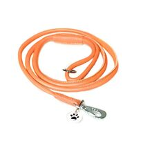 Orange rolled leather dog lead 1.5m / 5ft
