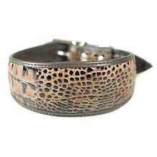 Brown python leather hound collar
