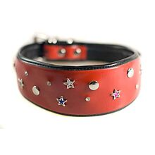 Red stars leather glamour hound collar