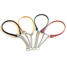 Leather martingale dog show collars