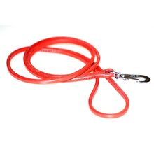 Red leather show dog lead