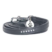 Black leather lead with crystals