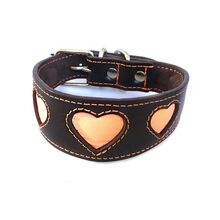 Orange reflective hearts hound collar