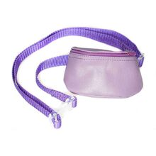Dog training and dog show lilac leather bait bag with adjustable belt and zip