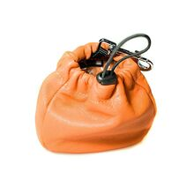 Dog training orange leather clip-on treat bag