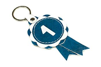 Blue winner show rosette key ring / charm