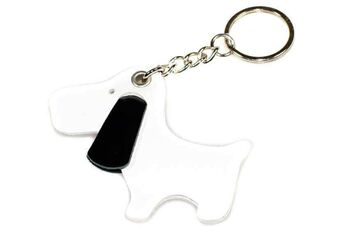 Cute white dog with black ears key ring / bag charm