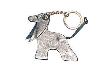 Silver blue Afghan hound key ring
