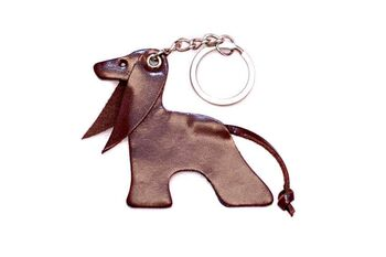 Brown Afghan hound key ring