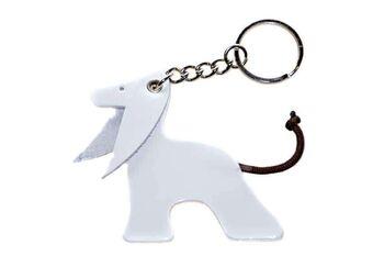 White Afghan hound key ring