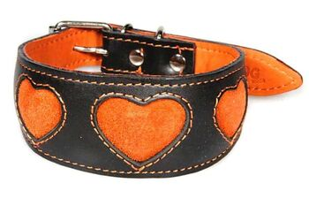 Hound collar with orange suede hearts