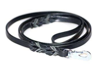 Wide black leather dog leads 1.2m / 4ft