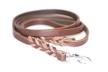 Short wide brown leather dog leads 1.2m / 4ft