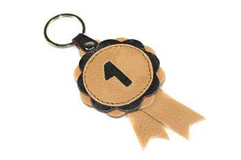 Winner show rosette key ring / key charm in beige