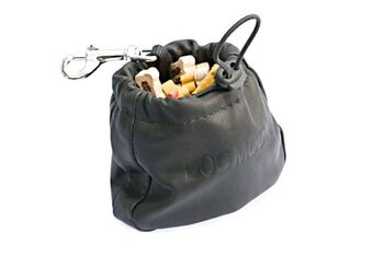 Black leather clip-on treat bag for dog training and dog shows