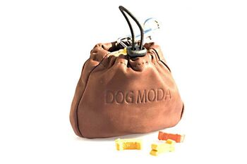 Dog training brown leather clip treat bag