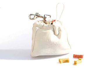 Dog training white leather clip treat bag