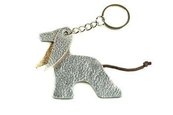 Silver Afghan hound key ring