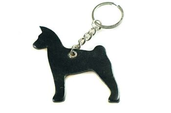 Black leather Basenji key ring fob / bag charm