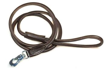 Brown rolled leather dog lead 1.5m / 5ft