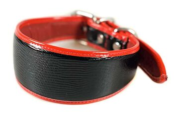 Traditional handmade black leather with red edge piping hound collar