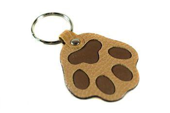 Dog paw leather key ring  in beige