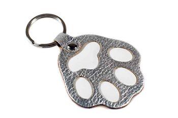 Silver leather dog paw key ring / bag charm
