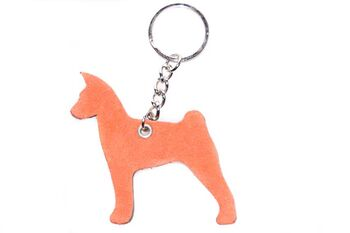 Red & brown Basenji key ring chain fob / bag charm. Red side of leather keyring