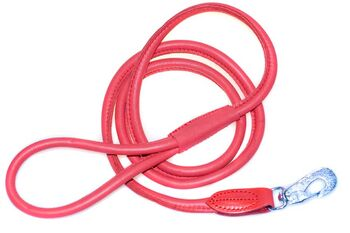 Flame red rolled leather dog lead 1.5m / 5ft
