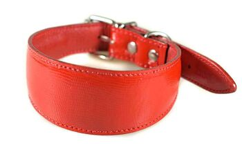 Traditional handmade red leather hound collar
