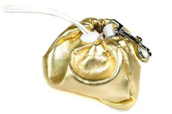 Dog training gold leather clip-on treat bag