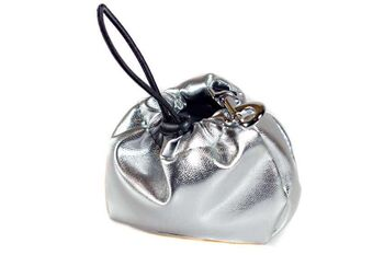 Dog training silver leather clip-on treat bag