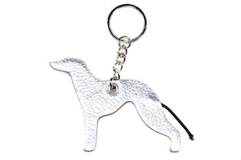 Silver Greyhound keyring fob / bag charm