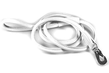 White rolled leather dog lead 1.5m / 5ft